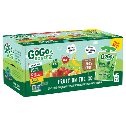 Variety 20-Pack GoGo squeeZ<sup>®</sup> Apple, Banana, Strawberry