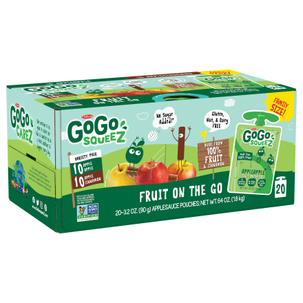 Variety 20-Pack GoGo squeeZ<sup>®</sup> Apple, Cinnamon