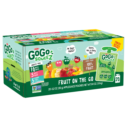 Variety 20-Pack GoGo squeeZ<sup>®</sup> Apple, Peach, GimmeFive