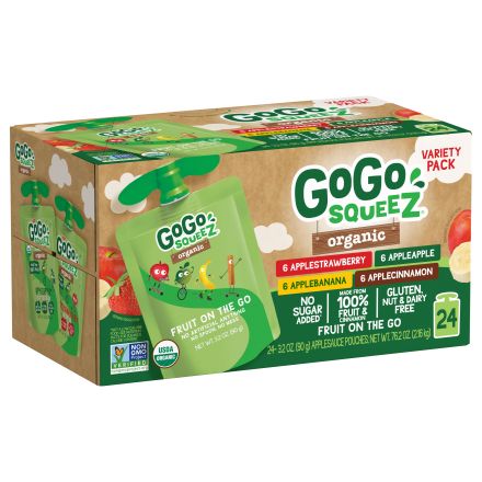 Variety 24-Pack GoGo squeeZ<sup>®</sup> Apple, Strawberry, Cinnamon