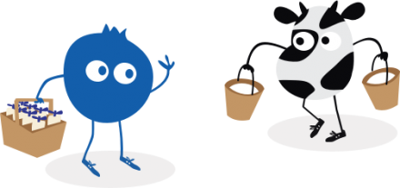 Cow and Blueberry carrying milk